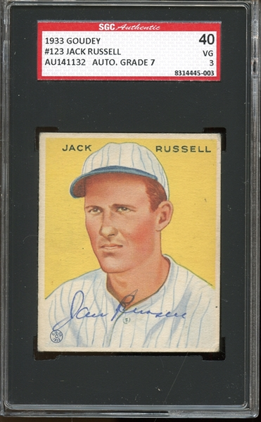 1933 Goudey #123 Jack Russell Autographed AUTHENTIC SGC 40 VG 3