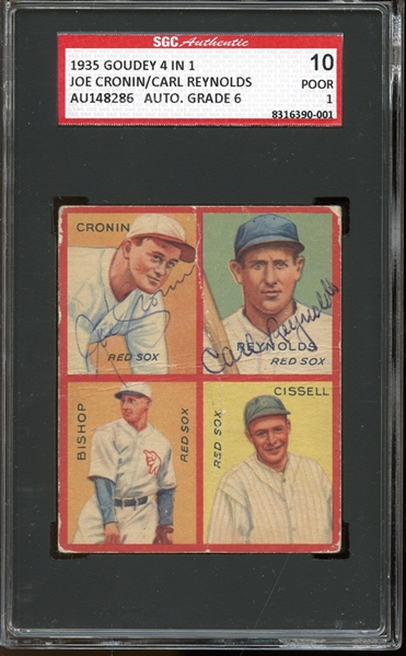 1935 Goudey 4 in 1 #6E Joe Cronin / Carl Reynolds Autographed SGC AUTHENTIC 10 POOR 1