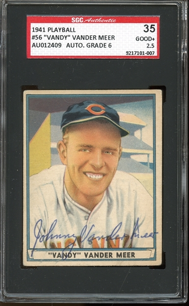 1941 Play Ball #56 Johnny Vander Meer Autographed SGC AUTHENTIC 35 GOOD 2.5