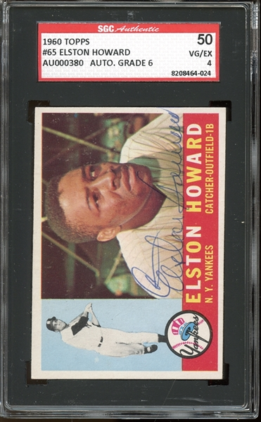 1960 Topps #65 Elston Howard Autographed SGC AUTHENTIC 50 VG/EX 4