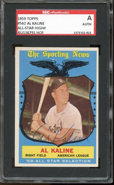 1959 Topps #562 Al Kaline All Star Autographed SGC AUTHENTIC