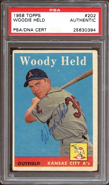 1958 Topps #202 Woodie Held Autographed PSA/DNA AUTHENTIC
