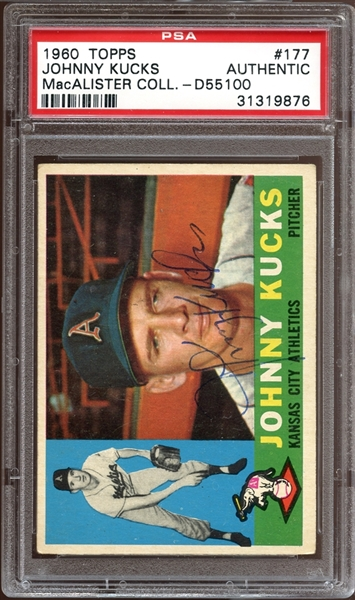 1960 Topps #177 Johnny Kucks Autographed PSA/DNA AUTHENTIC