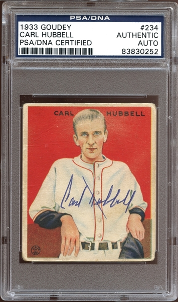 1933 Goudey #234 Carl Hubbell Autographed PSA/DNA AUTHENTIC