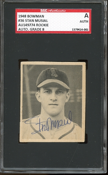 1948 Bowman #36 Stan Musial Autographed SGC AUTHENTIC