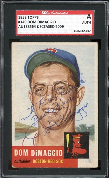 1953 Topps #149 Dom DiMaggio Autographed SGC AUTHENTIC