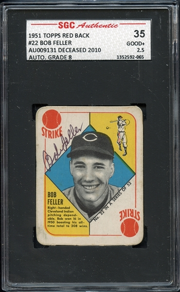 1951 Topps Red Back #22 Bob Feller SGC AUTHENTIC AUTO 8