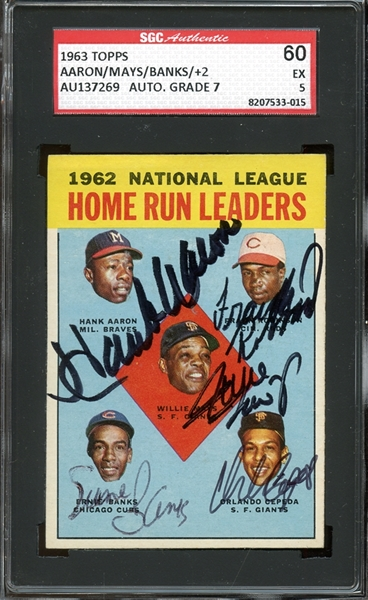 1963 Topps #3 HR Leaders Hank Aaron / Willie Mays / Frank Robinson / Ernie Banks / Orlando Cepeda Autographed SGC AUTHENTIC 60 EX 5