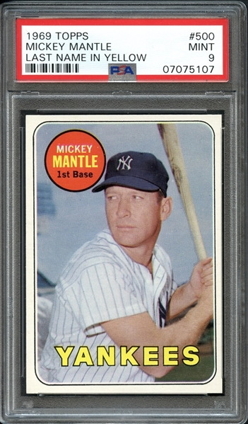 1969 Topps #500 Mickey Mantle PSA 9 MINT
