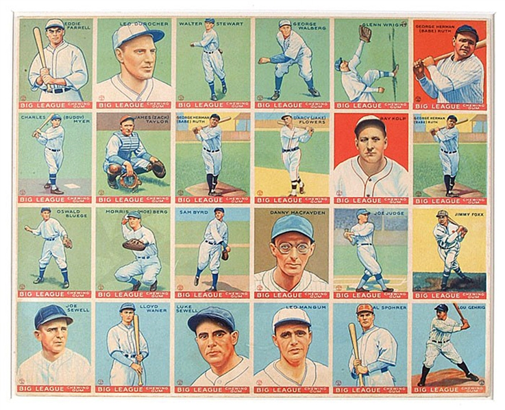 Spectacular 1933 V353 World Wide Gum (Canadian Goudey) Uncut Sheet Featuring (3) Babe Ruth Cards and Lou Gehrig