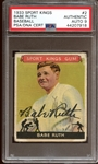 Fantastic 1933 Sport Kings Gum #2 Babe Ruth Autographed PSA/DNA Auto MINT 9 and JSA ... The Only Known Example
