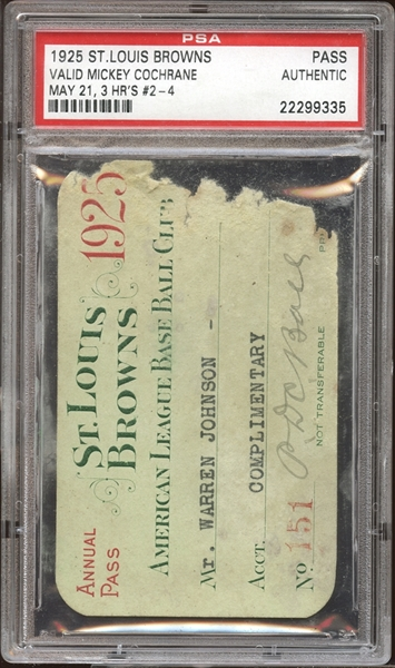 1925 St. Louis Browns Season Pass PSA AUTHENTIC