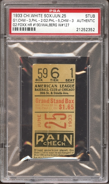1933 Chicago White Sox Ticket Stub Jimmie Foxx Home Run #190 PSA AUTHENTIC