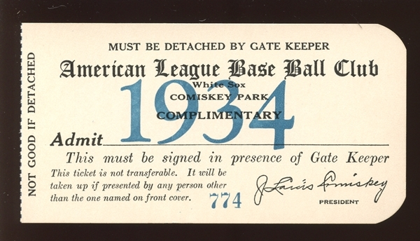 1934 Chicago White Sox Comiskey Park Complimentary Pass