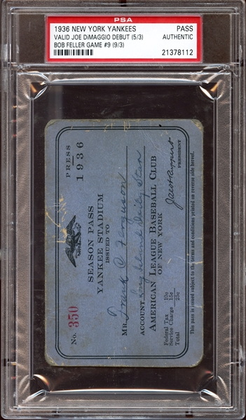 1936 World Series Game 3 Ticket Stub Lou Gehrig Home Run PSA 3 VG