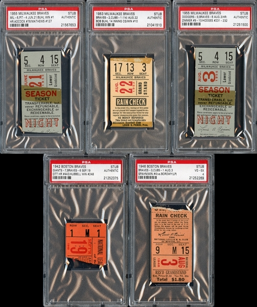 1940s-1950s Boston/Milwaukee Braves Prominent Ticket Stub Collection of (5)
