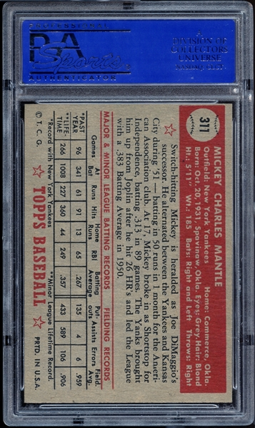 1952 Topps #311 Mickey Mantle PSA 8 NM/MT