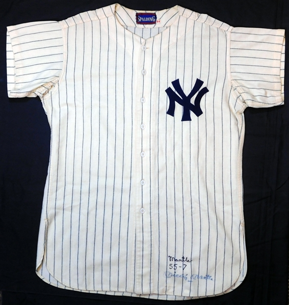 Historic Mickey Mantle 1956 New York Yankees Game-Used and Signed Home Jersey Attributed to 1956 Triple Crown Season with Extensive Photo Matching-MEARS A7, Photo Match Sports Investors Authentication