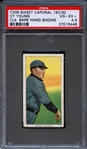 1909-11 T206 SWEET CAPORAL CY YOUNG, CLE. BARE HAND SHOWS PSA 4.5 VG/EX+