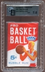 1961 Fleer Basketball Unopened Wax Pack GAI 7.5 NM