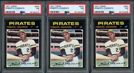1971 Topps #630 Roberto Clemente Group of (3) All PSA 7 NM