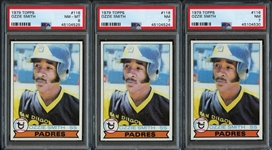 1979 Topps #116 Ozzie Smith Group of (3) All PSA Graded
