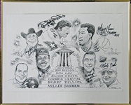 Texas Sport Hall of Fame Multi-Signed Print with (6) Signatures Including Randy White and George Gervin PSA/DNA