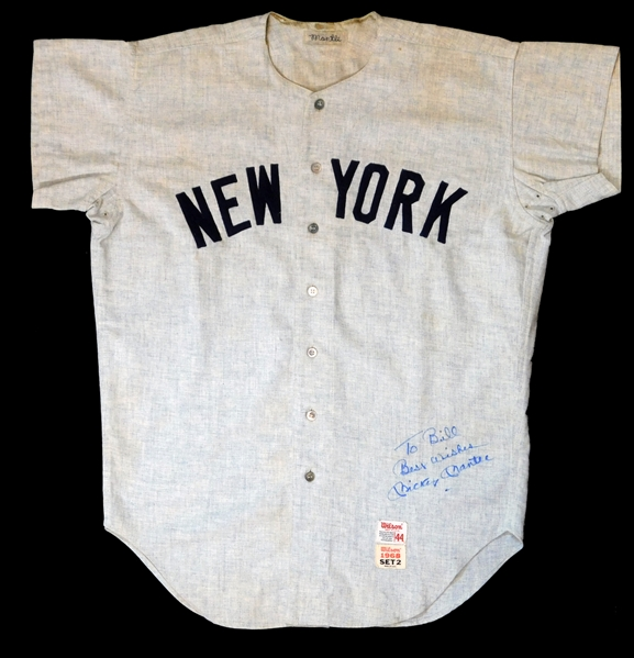1968 Mickey Mantle New York Yankees Game Used and Signed Road Jersey-Completely Original As Issued, Most Likely The Final Jersey Ever Worn By Mantle Apparent Photo Match-MEARS A9.5, Sports Investors