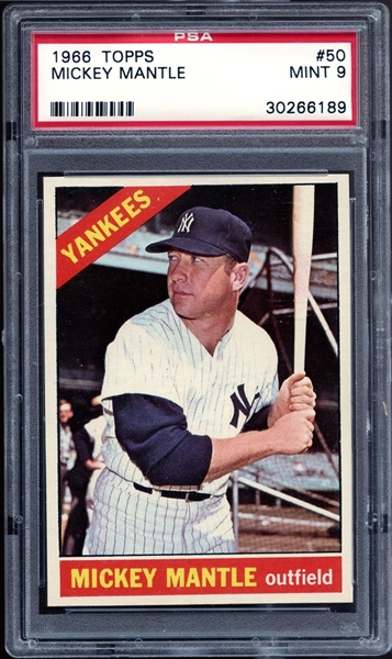 1966 Topps #50 Mickey Mantle PSA 9 MINT