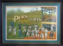 Circa 1910 Spectacular Peach (J.A. Peach Company) Baseball Gloves Advertising Display Featuring Cobb, Wagner, Mathewson, Young Etc.