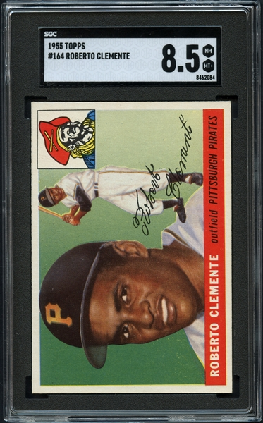 1955 Topps #164 Roberto Clemente SGC 8.5 NM/MT+- A Freshly Graded Example That Displays As A MINT Example