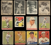 1933-48 Pre War Shoebox Collection of (16) Cards Featuring Goudeys, Playballs and Leaf