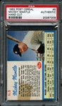 1962 Post Cereal #5 Mickey Mantle Hand Cut PSA AUTHENTIC