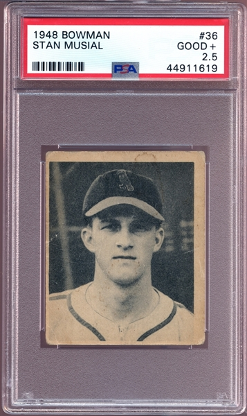 1948 Bowman #36 Stan Musial PSA 2.5 GOOD+