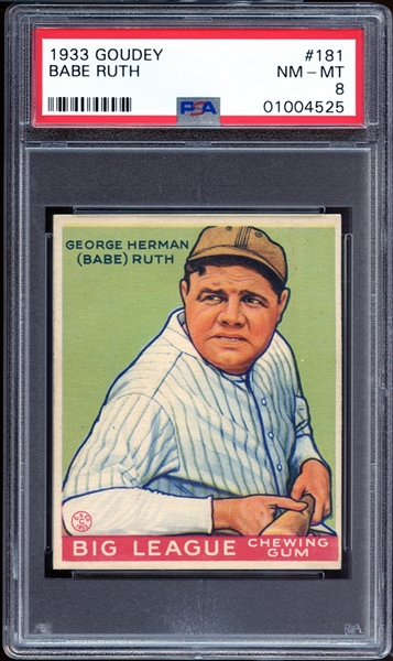 1933 Goudey #181 Babe Ruth PSA 8 NM/MT