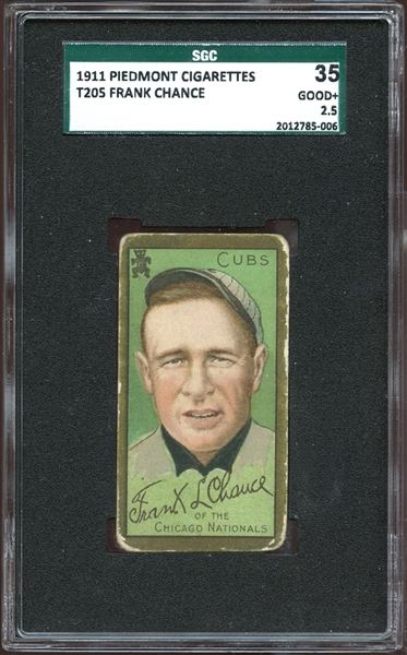 1911 T205 Gold Border Frank Chance SGC 35 GOOD+ 2.5