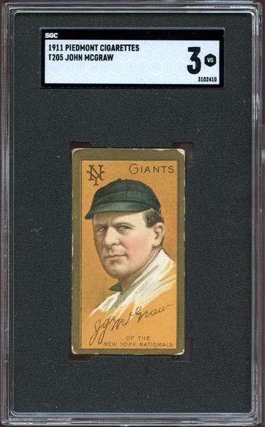 1911 T205 Gold Border John McGraw SGC 3 VG