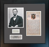 Abraham Lincoln Signed Framed Endorsement BAS-Beckett Autogragh 10 GEM MINT