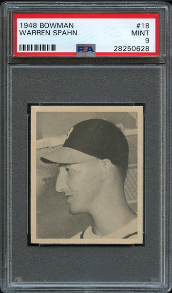 1948 Bowman #18 Warren Spahn PSA 9 MINT