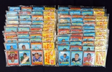 Exceptional Lot Of 24 (Equivalent To Unopened Rack Pack Box) Unopened 1971 Topps Football Rack Packs With Numerous Stars On Top/Bottom- Six (6) Of The Packs Are High Numbered Rack Packs