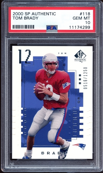 2000 SP Authentic #118 Tom Brady PSA 10 GEM MINT (#0516/1250)