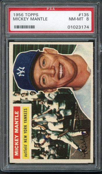 1956 Topps #135 Mickey Mantle PSA 8 NM-MT