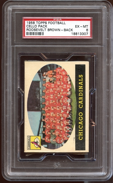 1958 Topps Football Unopened Cello Pack with Roosevelt Brown on Back PSA 6 EX/MT