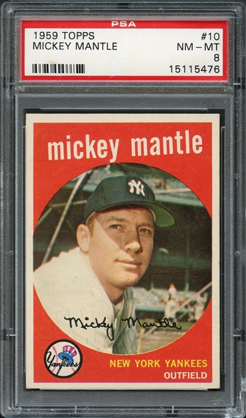 1959 Topps #10 Mickey Mantle PSA 8 NM-MT