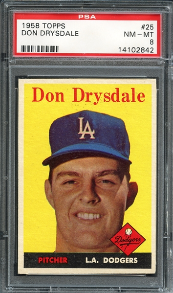 1958 Topps #25 Don Drysdale PSA 8 NM-MT