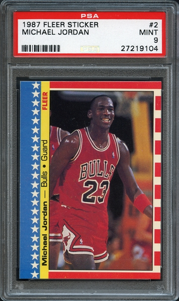 1987 Fleer Sticker #2 Michael Jordan PSA 9 MINT