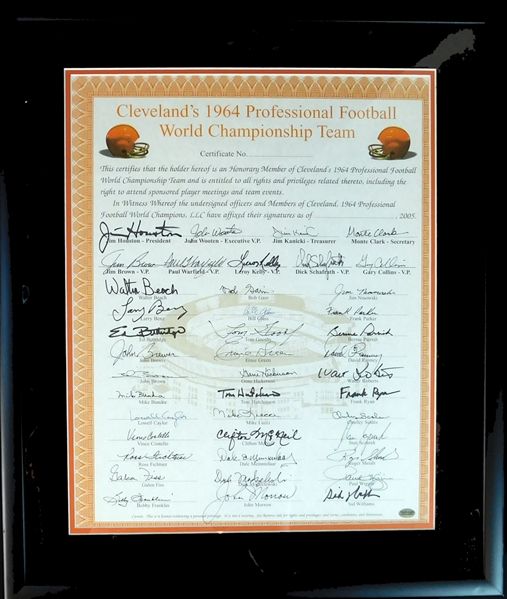1964 Cleveland Browns World Champions Honorary Member Certificate with (42) Signatures Featuring Jim Brown