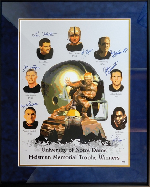 University of Notre Dame Heisman Trophy Winners Multi-Signed Poster with (7) Signatures SGC