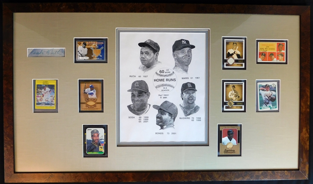 60 Home Run Club Multi-Signed Display Featuring Babe Ruth PSA/DNA