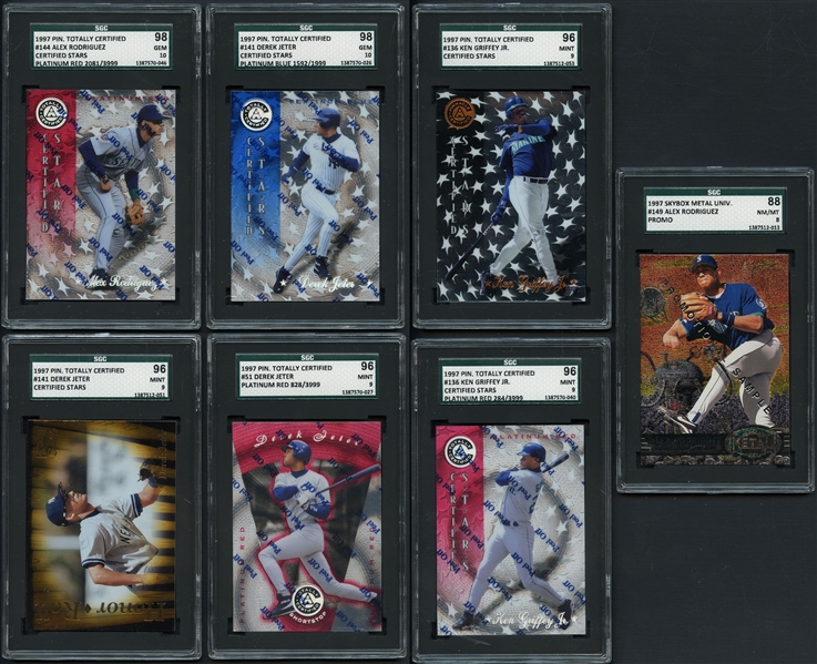 1990s Group of (7) Graded Cards Featuring Jeter, Griffey, A-Rod